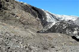 Flaajokull glacier: front of the glacier