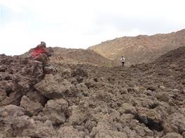 Lake cave pictures - Mount Etna: red signs